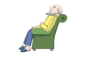 grandfather is sleeping in the chair