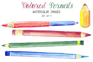 Watercolor Colored Pencils Clipart
