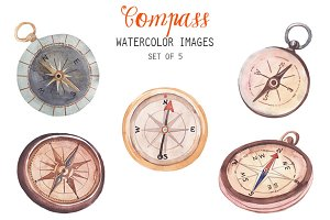 Watercolor Compass Clipart