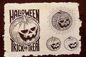 Halloween Pumpkin Engraving Style