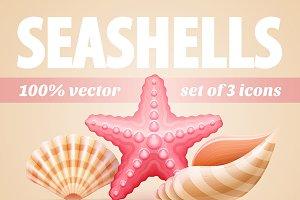 Icons with seashells and starfish