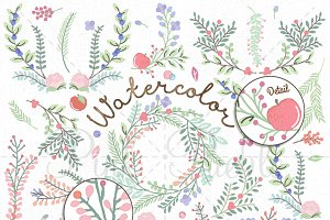 Watercolor Flower Clipart & Vectors
