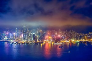 Aerial view of illuminated Hong Kong