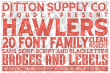 Hawlers Font Family + Extras by  in Display Fonts
