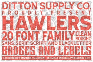 Hawlers Font Family + Extras