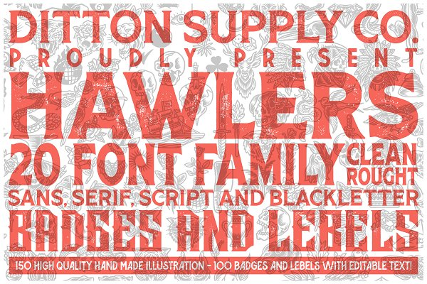 Display Fonts: DittonSupplyCo - Hawlers Font Family + Extras