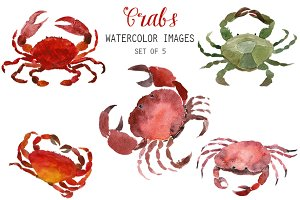 Watercolor Crabs Clipart