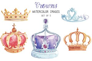 Watercolor Crowns Clipart
