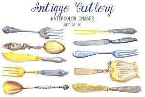 Watercolor Antique Cutlery Clipart