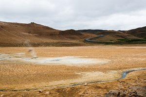 Geyser and road