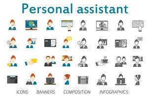 Personal assistant flat vector set