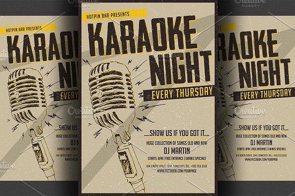 karaoke night flyer poster template flyer templates creative market