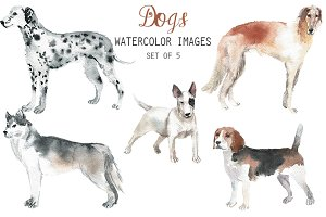 Watercolor Dogs Clipart