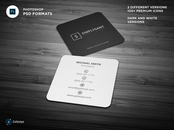 Minimal Square Business Cards Business Card Templates Creative