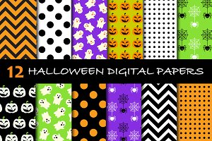 12 Halloween Digital Papers