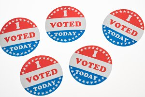 I Voted Today paper stickers on