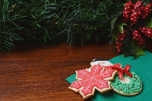 Colorful christmas cookies with fest