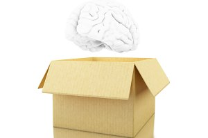 3d Brain with cardboard box. Think o