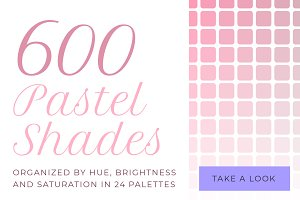 600 pastel shades color swatches