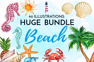 HUGE Watercolor Beach Bundle