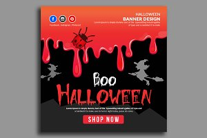 Halloween Banner Psd File