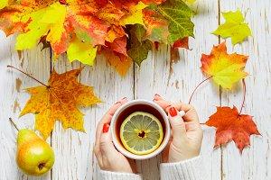 tea with lemon.  autumn leaves
