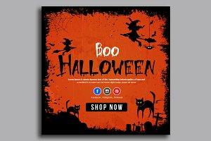 Halloween Banner Psd Template