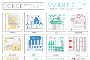 Smart modern city concept icons.