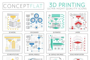 3d printing tech concept icons