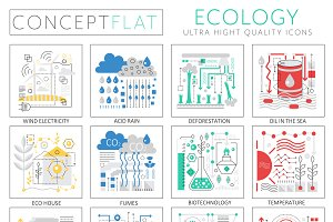 Ecology concept icons for web