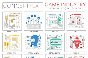 Game industry concept icons