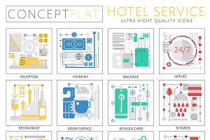 Hotel service concept icons.