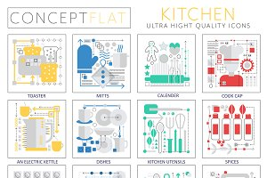 Kitchen concept icons for web