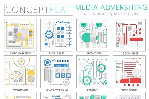 Media advertising concept icons.