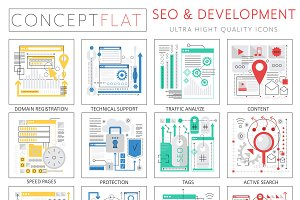 SEO development concept icons