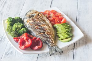 Grilled sea bream fish