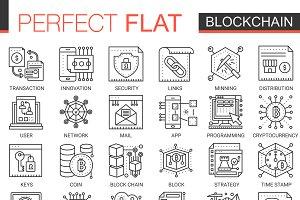 Blockchain crypto line concept icons