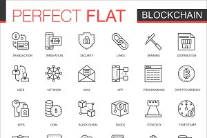Blockchain crypto line icons