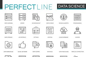 Data Science analysis line icons set