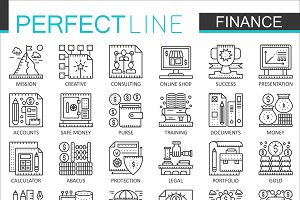 Finance banking concept line icons