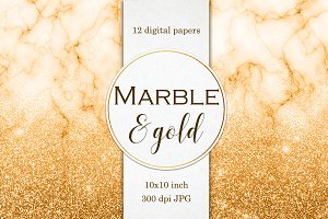 Marble & Gold digital papers