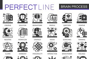 Brain mind black concept icons