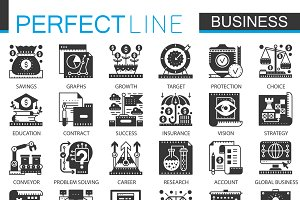 Global business black concept icons