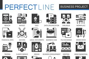 Business project black concept icons