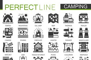 Summer camping black concept icons