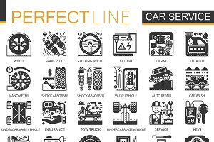 Car service black concept icons