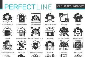 Cloud big data black concept icons