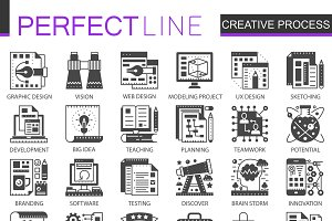 Creative process black concept icons
