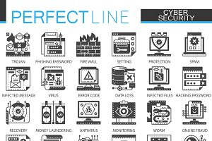 Cyber security black concept icons