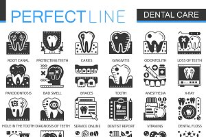 Dental care black concept icons